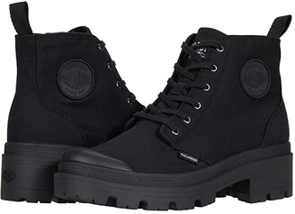 Palladium Pallabase Twill (Black/Black) Women's Lace-up Boots