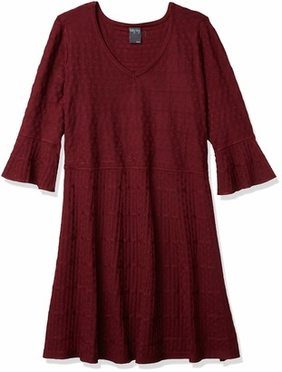 Gabby Skye Women's Plus Size 3/4 Bell Sleeve V-Neck Sweater Fit & Flare