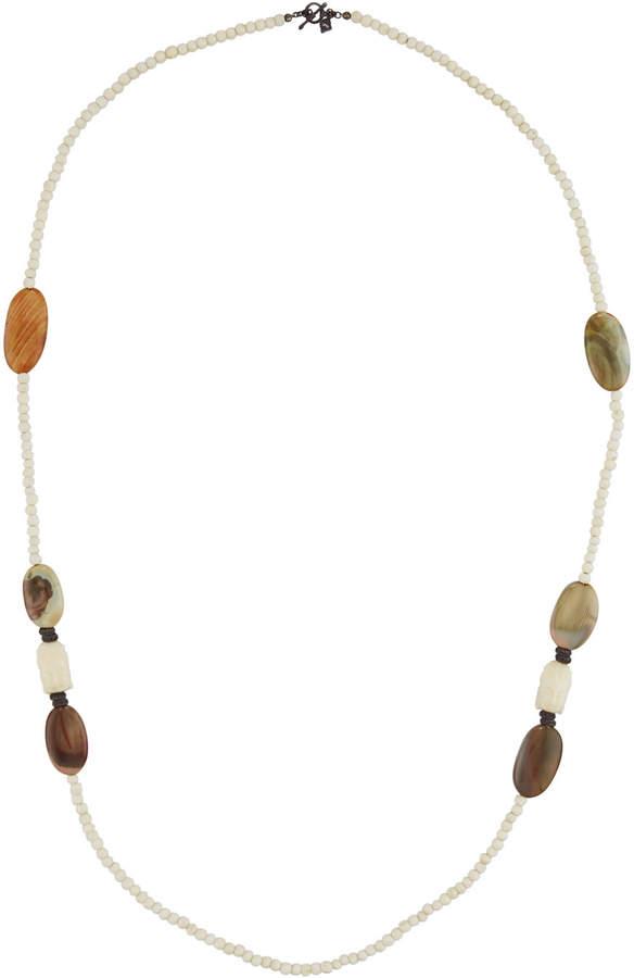 Armenta Long Bone, Jade & Buddha Beaded Necklace