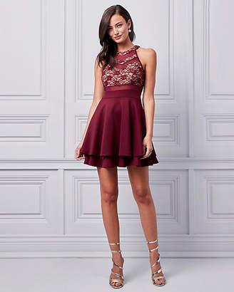 Le Château Lace & Scuba Knit Halter Cocktail Dress