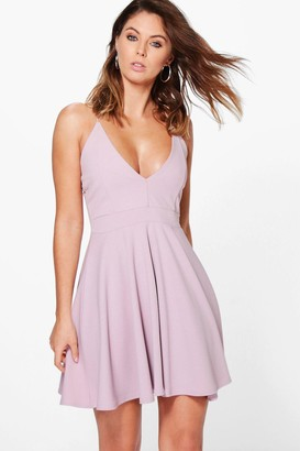 boohoo Strappy Plunge Neck Skater Dress