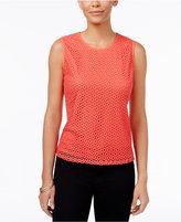 Kasper Petite Crochet-Overlay Shell