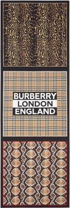 Burberry Animal & Check Print Logo Silk Scarf
