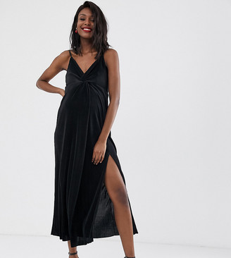 ASOS DESIGN Maternity twist front plisse maxi dress