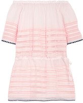 Lemlem Nadia Off-the-shoulder Striped Cotton-blend Gauze Mini Dress - Peach