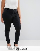 Asos Lisbon Skinny Mid Rise Jeans with Two Displaced Ripped Knees in Washed Black