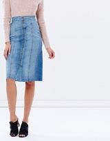 Mother High-Waisted Button Front Midi Fray Skirt