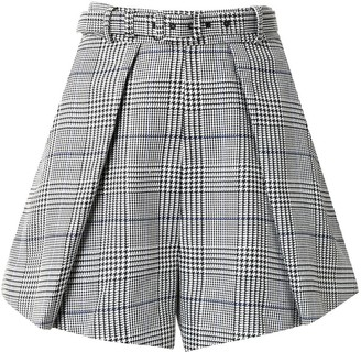 Self-Portrait Houndstooth Print Shorts