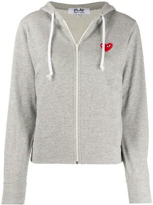 Comme des Garcons zipped almond eye heart hoodie