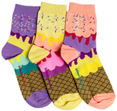 LittleMissMatched Purple & Yellow Ice Cream Crew Socks Set