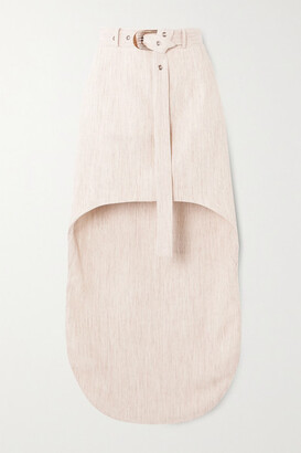 MATÉRIEL Asymmetric Belted Woven Mini Skirt - Cream