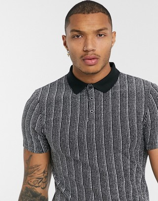ASOS DESIGN skinny polo in glitter mesh stripe