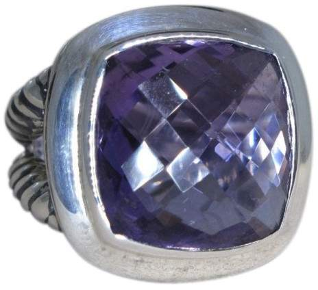 David Yurman Albion Sterling Silver Amethyst Ring Size 6