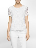 Calvin Klein Lace Front Short Sleeve Top