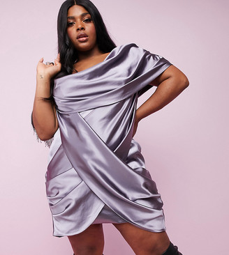 Asos DESIGN Curve Luxe one shoulder premium satin manipulated drape cupped mini dress with hidden boning