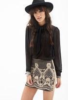 Forever 21 FOREVER 21+ Beaded Baroque-Patterned Skirt