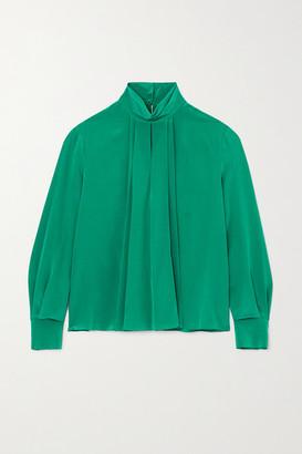 Jason Wu Draped Pleated Silk-charmeuse Blouse - Green