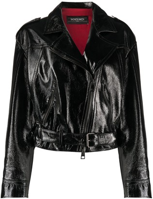 Simonetta Ravizza Distressed Cropped Biker Jacket