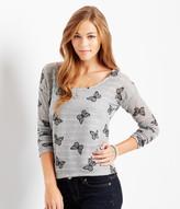 Aeropostale Long Sleeve Sheer Butterflies Sweater