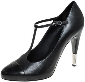 Chanel Black Leather CC Cap Toe T-Strap Round Toe Platform Pumps Size 42