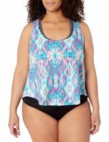 Private Label Amazon Brand - Coastal Blue Women's Plus Size Swimwear 2 for 1 Apron Back Tankini Top