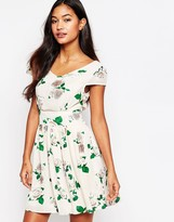 Iska Rose Print Dress with Cap Sleeves
