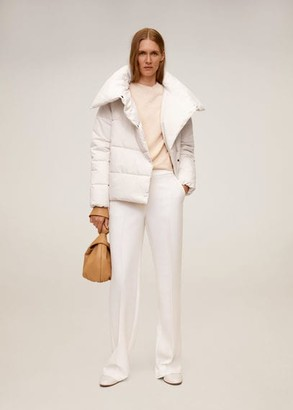 MANGO Funnel neck feather coat off white - XS-S - Women