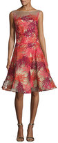 Naeem Khan Coral-Embroidered Illusion Cocktail Dress
