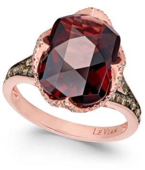 LeVian Le Vian Chocolatier Pomegranate Garnet (6-9/10 ct. t.w.) and Diamond (3/8 ct. t.w.) Ring in 14k Rose Gold(Also Available In London Blue Topaz)