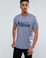 Abercrombie & Fitch Slim Fit T-Shirt With Logo In Blue