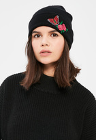 Missguided Black Floral Embroidered Beanie