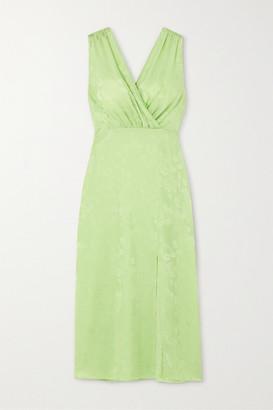 ART DEALER Amber Wrap-effect Satin-jacquard Midi Dress - Green