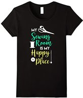Women's My Sewing Room is My Happy Place Shirt, Funny Sew Craft Gift XL