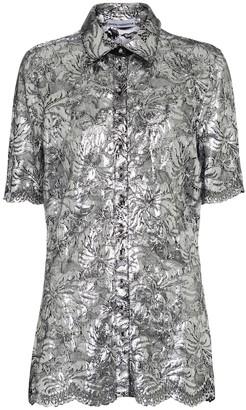 Paco Rabanne Metallic floral-lace blouse