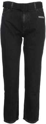 Off-White Cropped Straight Leg Jeans