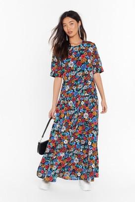 Nasty Gal Womens Floral Print Relaxed Maxi Dress with Bias Cut Hem - Black