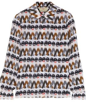 Alice + Olivia Willa Printed Silk Crepe De Chine Shirt