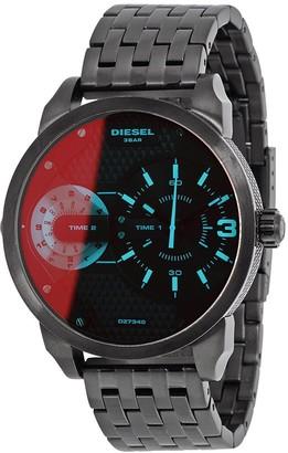 Diesel Men's DZ7340 'Mini Daddy' Dual Time Black Stainless Steel Watch