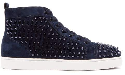 2024924952b Louis Spiked Leather High Top Trainers - Mens - Blue