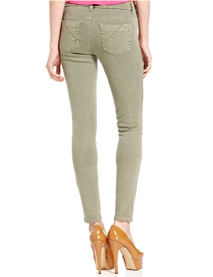 Tinseltown Juniors Jeans, Skinny Studded Destroyed