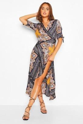 boohoo Scarf Print Bodycon Midi Dress