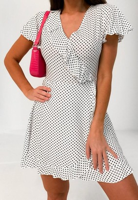 Missguided Petite White Polka Dot Frill Wrap Dress