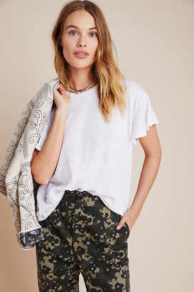 Martha Flutter-Sleeved Tee By T.La in White Size XS