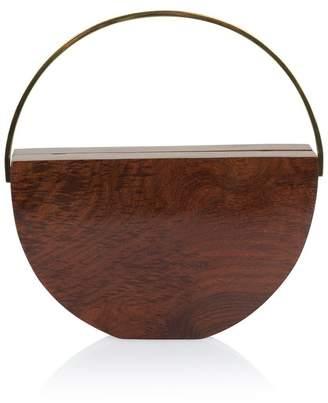 Rafia Noelle Half-Circle Wood Bag