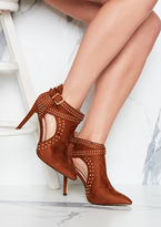 Missy Empire Fiora Tan Suede Cut Out Studded Buckle Heels