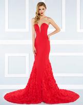 Mac Duggal Black White Red - 65219 Strapless Sweeping Mermaid Gown