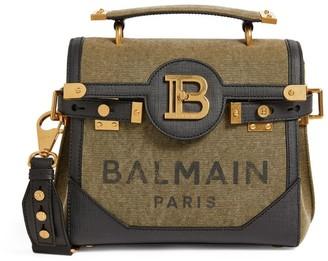 Balmain Leather Trim Canvas B-Buzz 23 Shoulder Bag