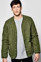 boohoo Quilted Collarless Jacket khaki