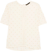 Maje Crochet-Trimmed Embroidered Gauze Top