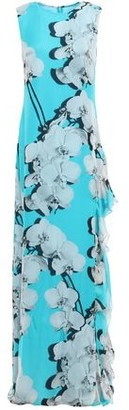 Roberto Cavalli Floral-print Ruffled Silk-twill Maxi Dress